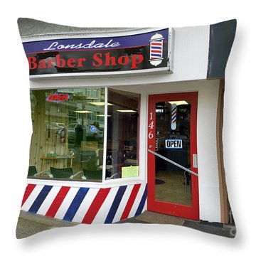 Lonsdale Barber Shop, N. Van. Throw Pillow
