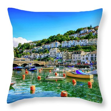Looe In Cornwall Uk Throw Pillow