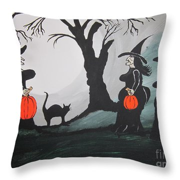 Throw Pillow featuring the painting Look At The Size Of Her Pumpkins by Jeffrey Koss
