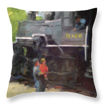 Look At The Train Throw Pillow