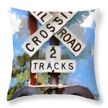 Look Both Ways Throw Pillow by Lynne Jenkins