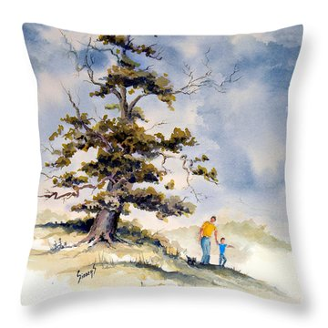 Throw Pillow featuring the painting Look Dad by Sam Sidders