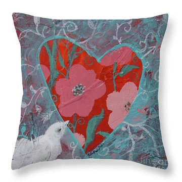 Throw Pillow featuring the painting Look Into My Heart  by Robin Maria Pedrero