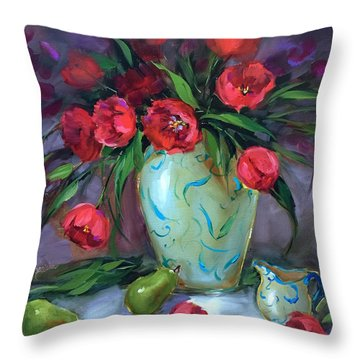 Look To The Stars Red Tulips Throw Pillow by Nancy Medina