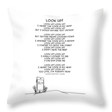 Throw Pillow featuring the drawing Look Up by John Haldane