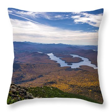Lookin Down On Lake Placid Throw Pillow