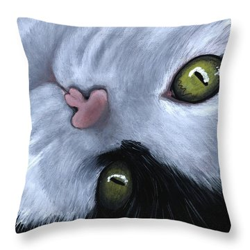 Throw Pillow featuring the painting Looking At You by Anastasiya Malakhova