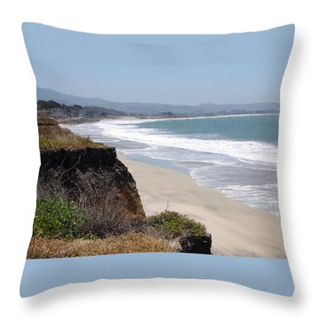 Looking Back At Half Moon Bay From The North Throw Pillow by Carolyn Donnell