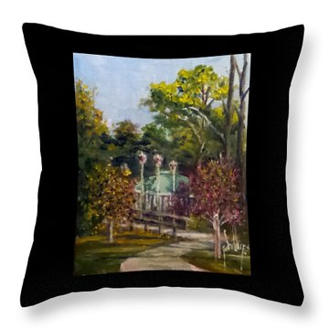 Throw Pillow featuring the painting Looking Back At The Vietnam Memorial by Jim Phillips