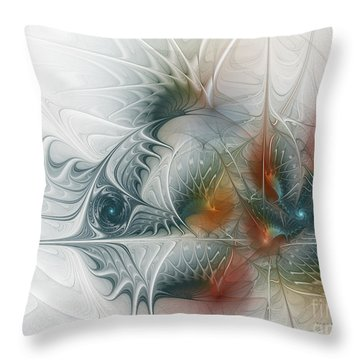Throw Pillow featuring the digital art Looking Back by Karin Kuhlmann