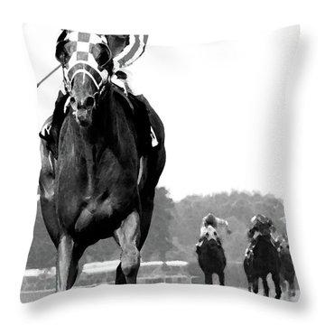 Looking Back, 1973 Secretariat, Stretch Run, Belmont Stakes Throw Pillow