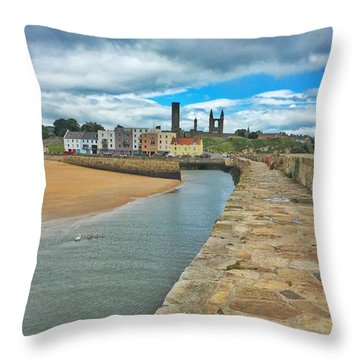 Looking Back To The St Andrews Skyline Throw Pillow