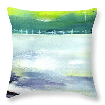 Throw Pillow featuring the painting Looking Beyond by Anil Nene