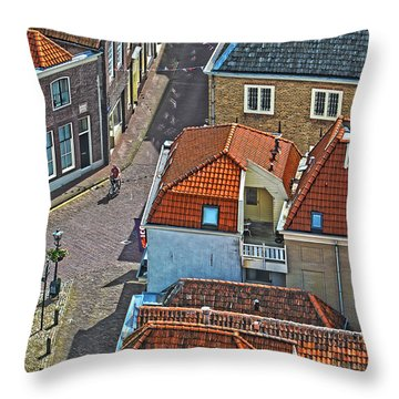 Looking Down From The Church Tower In Brielle Throw Pillow