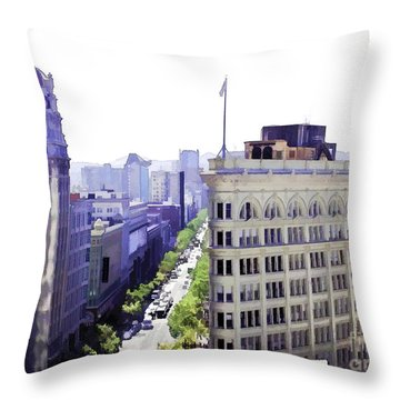 Looking Down Market Throw Pillow