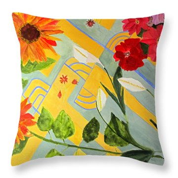 Throw Pillow featuring the painting Looking Down On The Flowers On The Tile Floor by Sandy McIntire