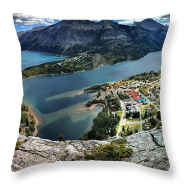 Looking Down On Waterton Lakes Throw Pillow