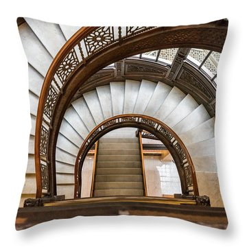Looking Down The Rookery Building Winding Staircase Throw Pillow