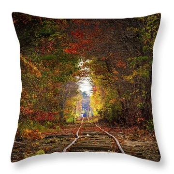 Looking Down The Tracks Throw Pillow