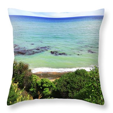 Throw Pillow featuring the photograph Looking Down To The Beach by Nareeta Martin