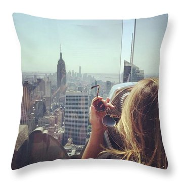 Looking Downtown In Style. #nyc Throw Pillow