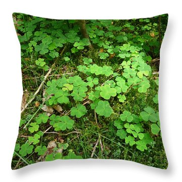 Looking For A Four-leaf Clover Throw Pillow by Valerie Ornstein
