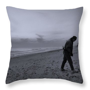 Looking For A Smooth Stone  Throw Pillow by John Hansen