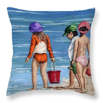 Looking For Seashells Children On The Beach Figurative Original Painting Throw Pillow