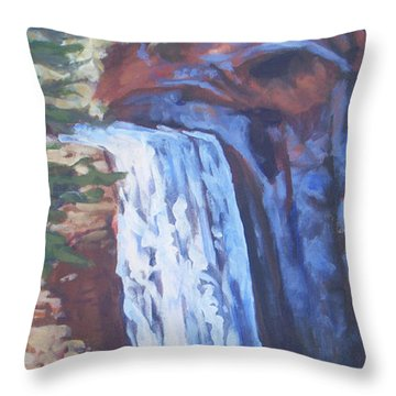 Looking Glass Falls Throw Pillow by Carol Strickland