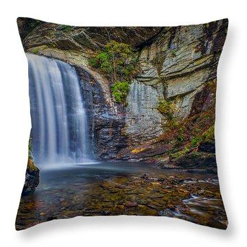 Looking Glass Falls In The Blue Ridge Mountains Brevard North Carolina Throw Pillow