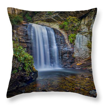 Looking Glass Falls In The Blue Ridge Mountains Brevard North Carolina Throw Pillow