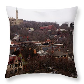 Throw Pillow featuring the digital art Looking North From  Lafayette And Summit. by David Blank