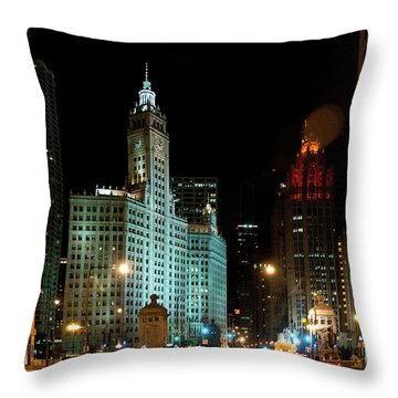 Looking North On Michigan Avenue At Wrigley Building Throw Pillow