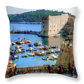 Looking Out Onto Dubrovnik Harbour Throw Pillow
