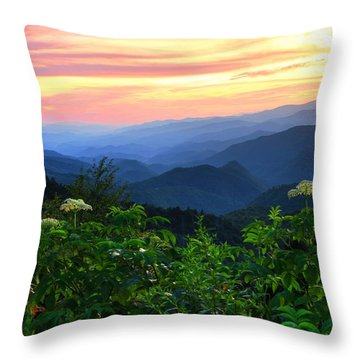 Looking Out Over Woolyback On The Blue Ridge Parkway  Throw Pillow