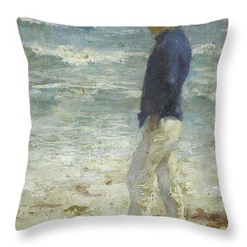 Throw Pillow featuring the painting Looking Out To Sea by Henry Scott Tuke