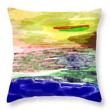 Looking Outward From The Blue Throw Pillow