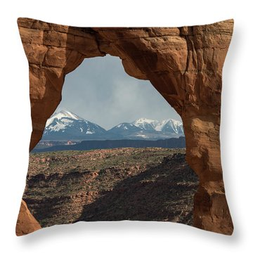 Looking Through Delicate Arch Throw Pillow