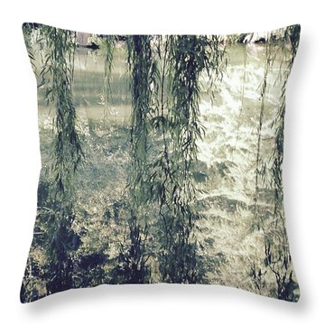Looking Through The Willow Branches Throw Pillow by Linda Geiger
