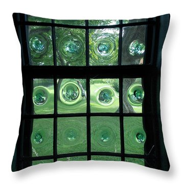 Looking Thru Bubble Glass Window Throw Pillow