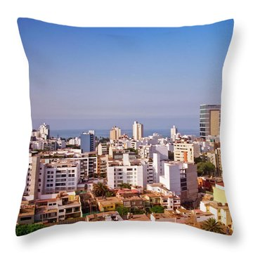 Throw Pillow featuring the photograph Looking Towards The Sea - Miraflores by Mary Machare