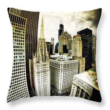 Looking Towards The Southwest And The Sears Tower Throw Pillow