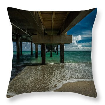 Looking Under The Pier Throw Pillow