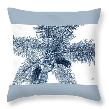 Looking Up At Palm Tree Blue Throw Pillow by Ben and Raisa Gertsberg