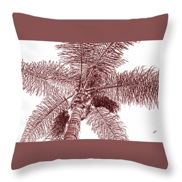 Looking Up At Palm Tree Red Throw Pillow by Ben and Raisa Gertsberg