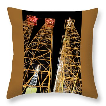 Looking Up At The Kilgore Lighted Derricks Throw Pillow
