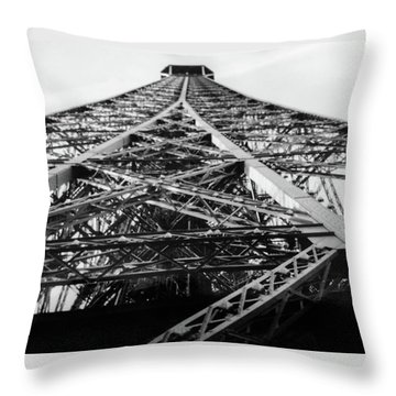 Looking Up From The Eiffel Tower Throw Pillow by Darlene Berger
