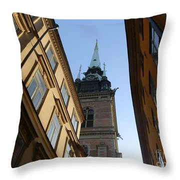 Looking Up From A Stockholm Street Throw Pillow by Margaret Brooks