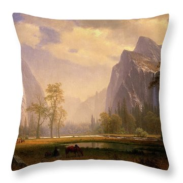Looking Up The Yosemite Valley  Throw Pillow