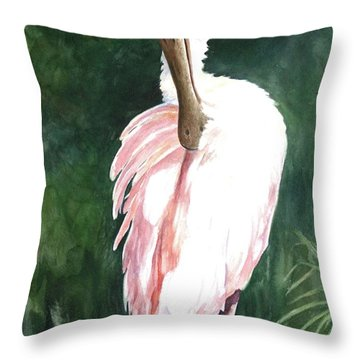 Look'n Back - Spoonbill Throw Pillow